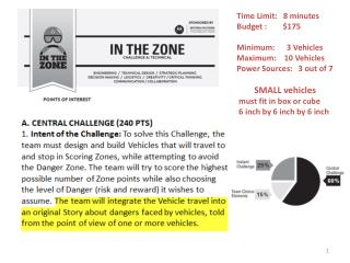 Time Limit:   8 minutes Budget :        $175 Minimum:      3 Vehicles Maximum:    10 Vehicles Power Sources:   3 out of