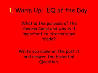 1.  Warm Up:  EQ of the Day