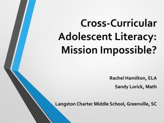 Cross-Curricular Adolescent Literacy: Mission Impossible?