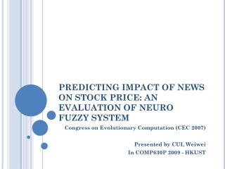 Predicting Impact of News on Stock Price: An Evaluation of Neuro ...