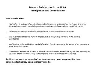 Modern Architecture in the U.S.A. Immigration and Consolidation