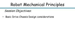 Robot Mechanical Principles