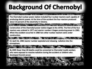 Background Of Chernobyl