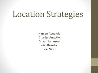 Location Strategies