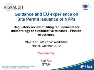 Guidance and EU experience on  Site Permit issuance of  NPPs