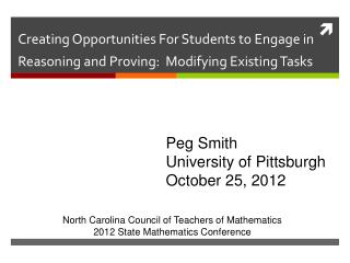 Creating Opportunities For Students to Engage in Reasoning and Proving:  Modifying Existing Tasks