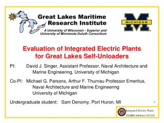 Evaluation of Integrated Electric Plants  for Great Lakes Self-Unloaders