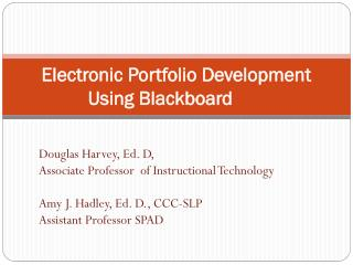 Electronic Portfolio Development Using Blackboard