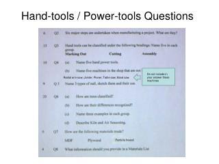 Hand-tools / Power-tools Questions