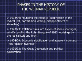 PHASES IN THE HISTORY OF THE WEIMAR REPUBLIC