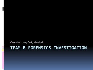 Team b Forensics Investigation