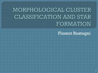 MORPHOLOGICAL CLUSTER CLASSIFICATION AND STAR FORMATION