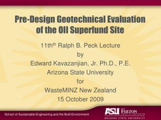 Pre-Design Geotechnical Evaluation of the OII Superfund Site