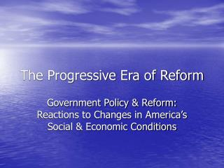 the progressive era of reform