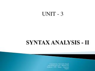 SYNTAX ANALYSIS - II