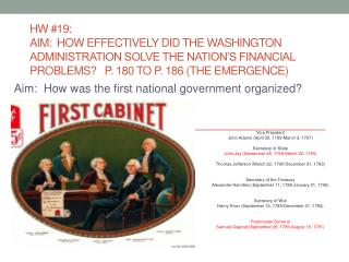 Aim:  How was the first national government organized?