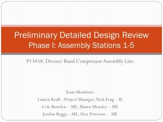 Preliminary Detailed Design Review  Phase I: Assembly Stations 1-5