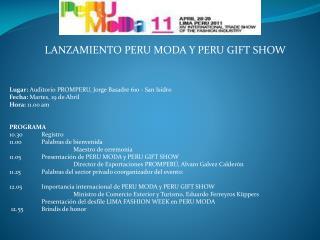 LANZAMIENTO PERU MODA Y PERU GIFT SHOW