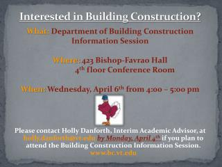Interested in Building Construction?