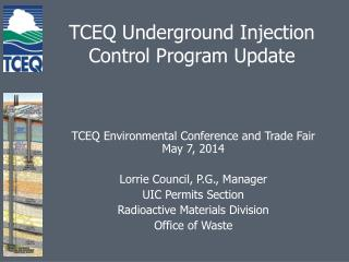 TCEQ Underground Injection Control Program Update