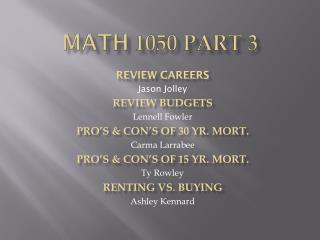 Math  1050 Part 3