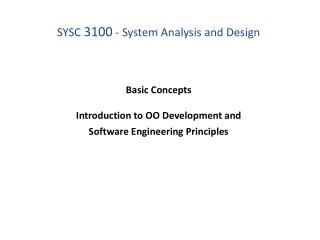 Basic Concepts  Introduction to OO Development and Software Engineering Principles