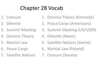 Chapter 28  Vocab