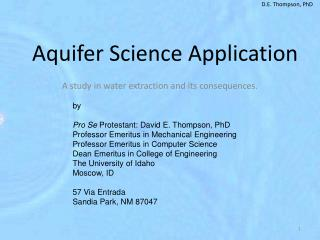 Aquifer Science Application