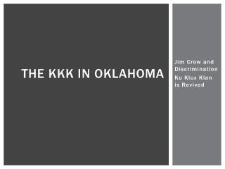 The KKK in Oklahoma
