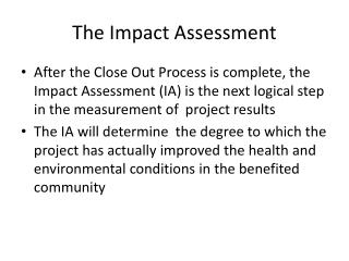 The Impact Assessment
