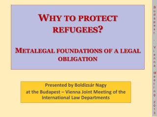 Why to protect refugees? Metalegal foundations of a legal obligation
