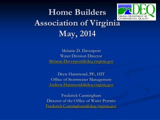 Home Builders Association of Virginia May, 2014