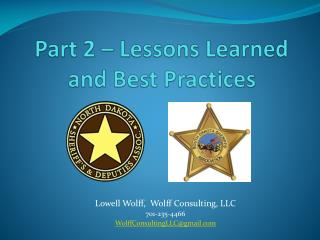 Part 2 � Lessons Learned  and Best Practices