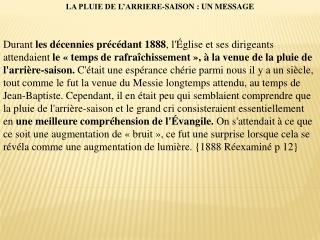 LA PLUIE DE L'ARRIERE-SAISON : UN MESSAGE