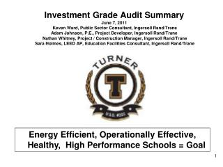 Energy Efficient, Operationally Effective, Healthy,  High Performance Schools = Goal