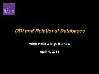DDI and Relational Databases