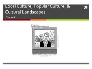Local Culture, Popular Culture, & Cultural Landscapes