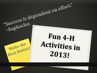 Fun 4-H Activities in 2013!