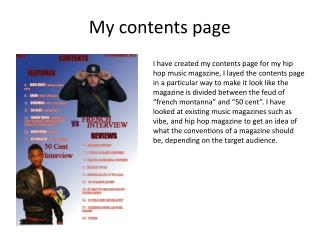 My contents page