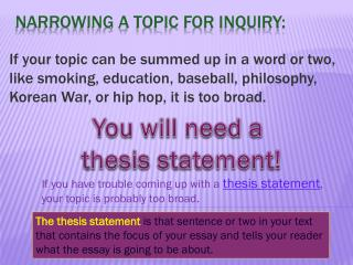 Narrowing a topic for Inquiry: