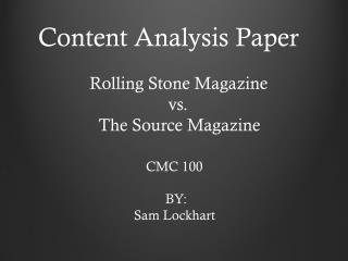 Content Analysis Paper