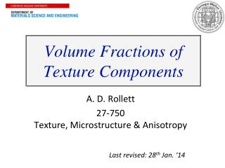 Volume Fractions of  Texture Components