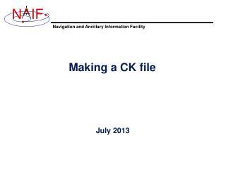 Making a CK file