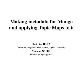 Making metadata for Manga and applying Topic Maps to it