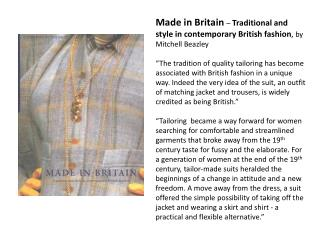 Made in Britain  –  Traditional and style in contemporary British fashion ,  by Mitchell Beazley