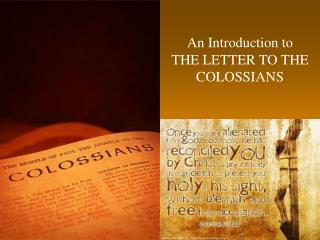 an introduction to the letter to the colossians