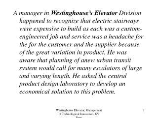 westinghouse elevator, management of technological innovation, kv patri