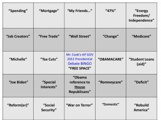 Debate Bingo A I