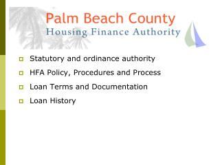HFA of Palm Beach County   -  Surplus Funds Loan Program