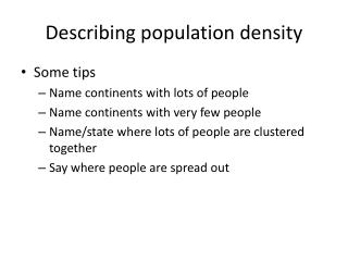 Describing population density